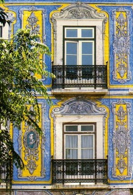 Building covered in azulejos
