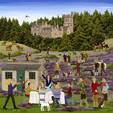 The Shooting Party – Part of the rural way of life for centuries, the controversial sport of going shooting is now only really continued by the upper class and at the weekends the sound of gun shots echo across the countryside. Shoots are normally accompanied by a lavish feast and this card is a fantastic image of this classic British tradition.