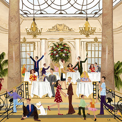 Afternoon Tea at the Ritz – Taking Afternoon Tea at the Ritz Hotel in London is an elegant and luxurious activity and a trip to the spectacular Palm Court, as seen in this card, has been a must for tourists for decades.