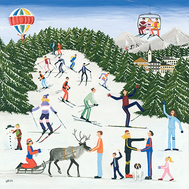 Skiing – I love the chaos of this card with skiers in all directions. I especially like the boy making the snowman and the chairlift going overhead, and it's just so Christmassy!