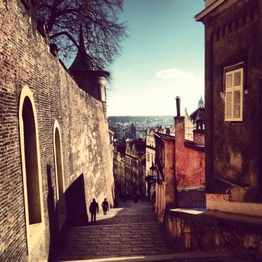 Winding street down from Prague Castle