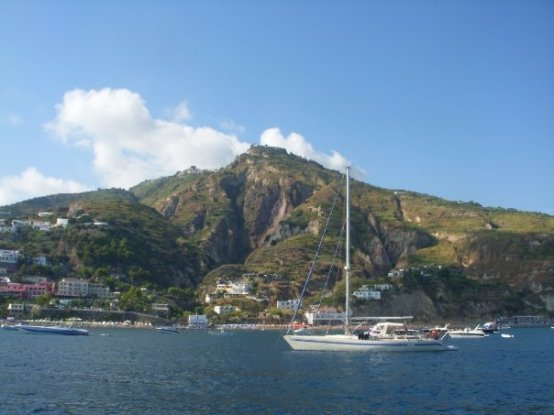 View of Ponza from the yacht as we passed by