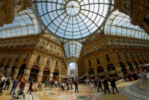 The Galleria Vittorio Emanuele II, Milan. Milan Fashion Week is held all over the city, but the Galleria is one of the most iconic shopping destinations the city has to offer, alongside Via Monte Napoleone.