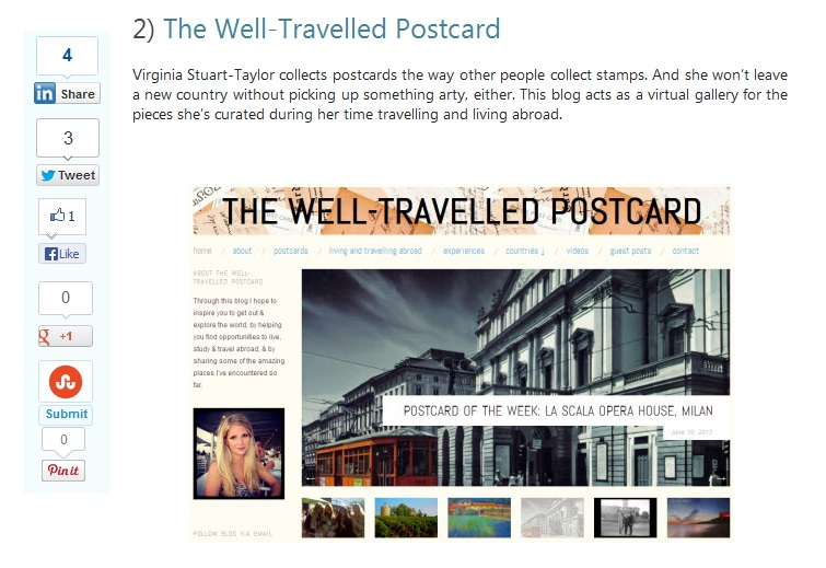 Top 10 - The Well-Travelled Postcard