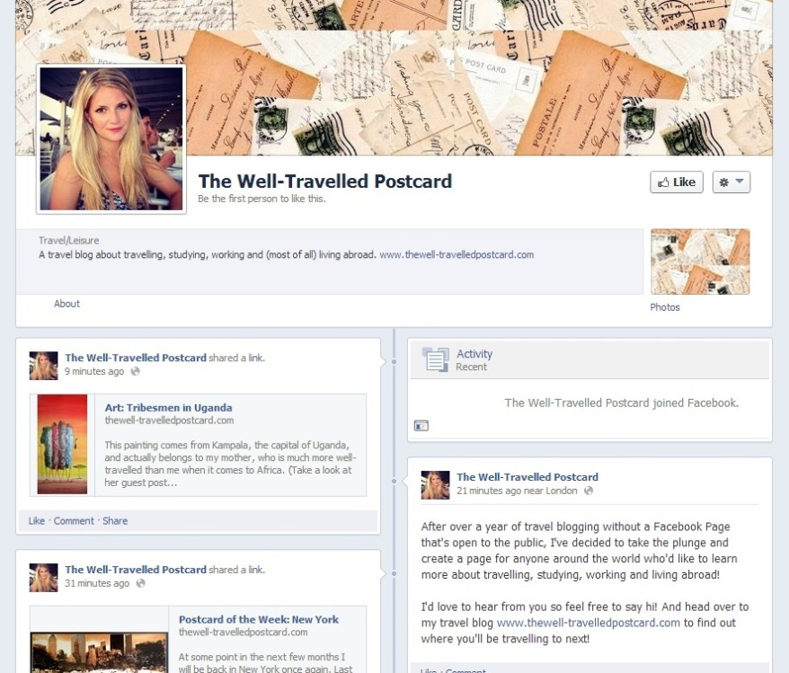 The Well-Travelled Postcard Facebook Page