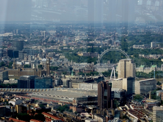View over teh London Eye from the Shard