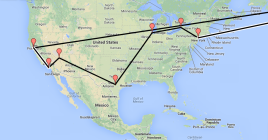 DTour across North America route map