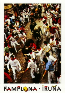 Bullrunning in Pamplona
