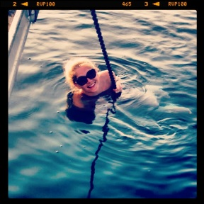 Hanging off the yacht's anchor chain