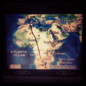 On the flight down from London to Johannesburg