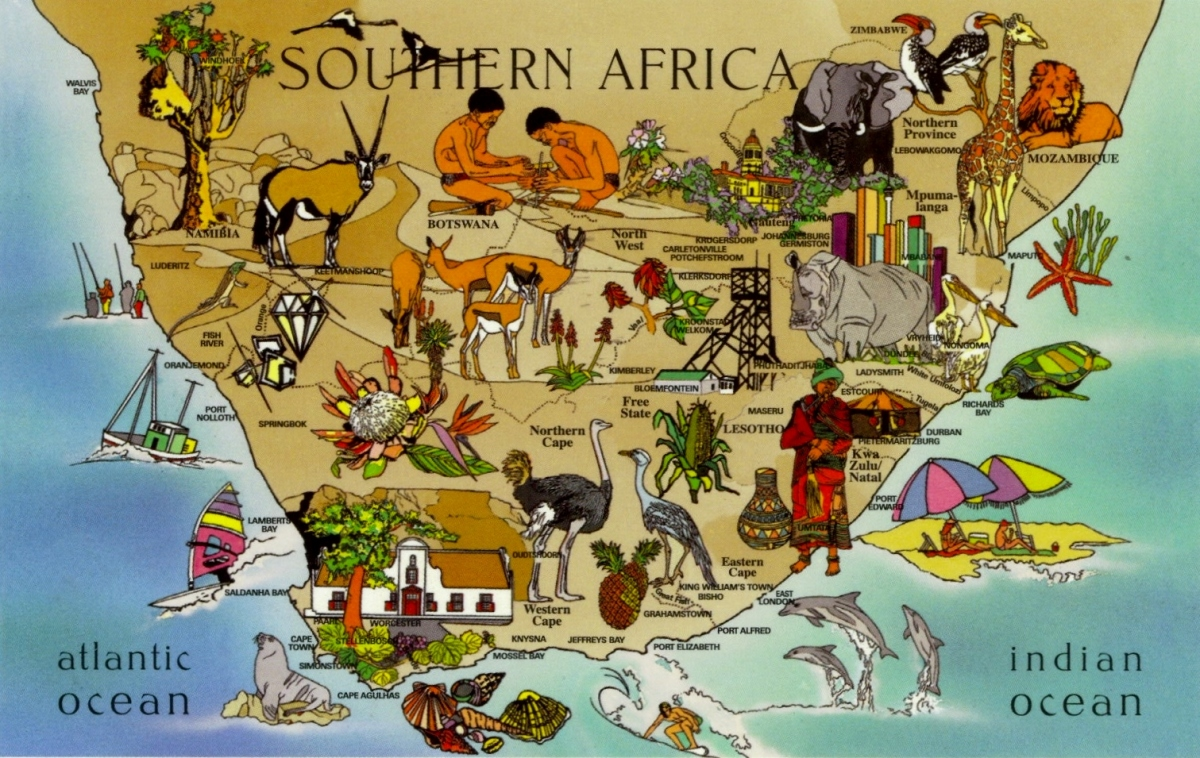 Postcard Of The Week Map Of Southern Africa The Well