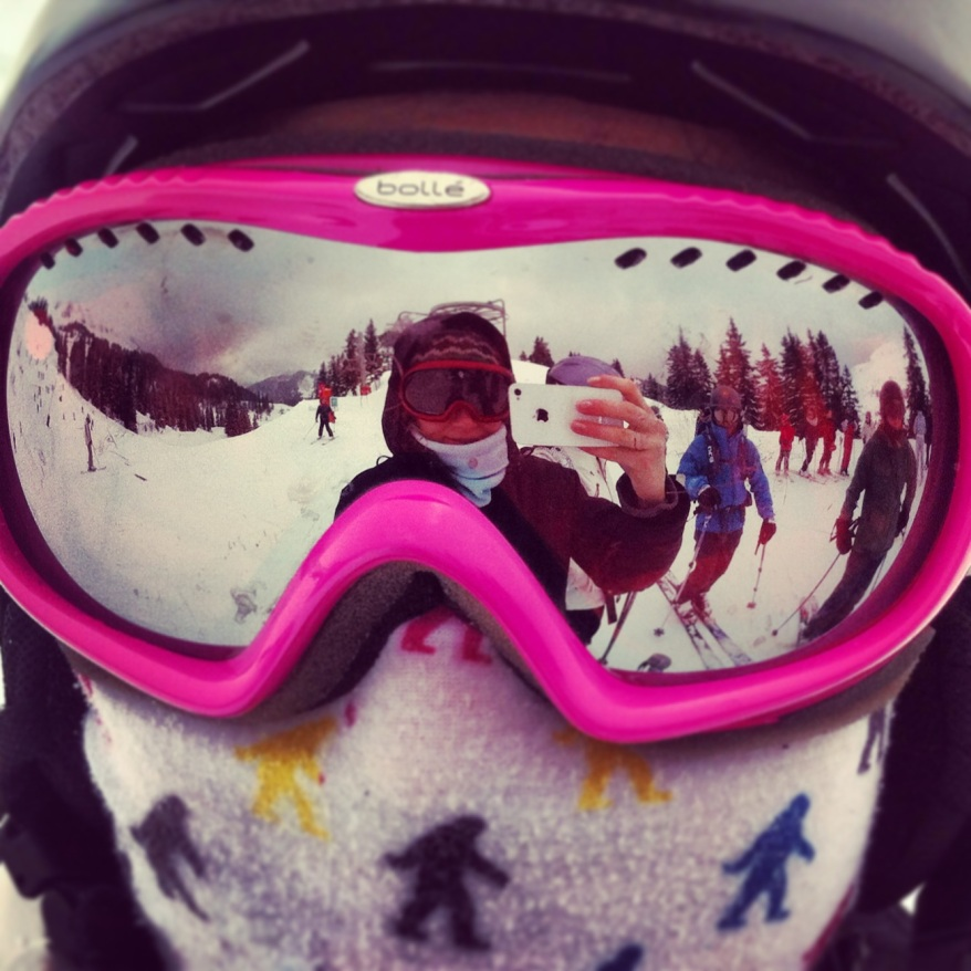 Reflection selfie in skiing goggles