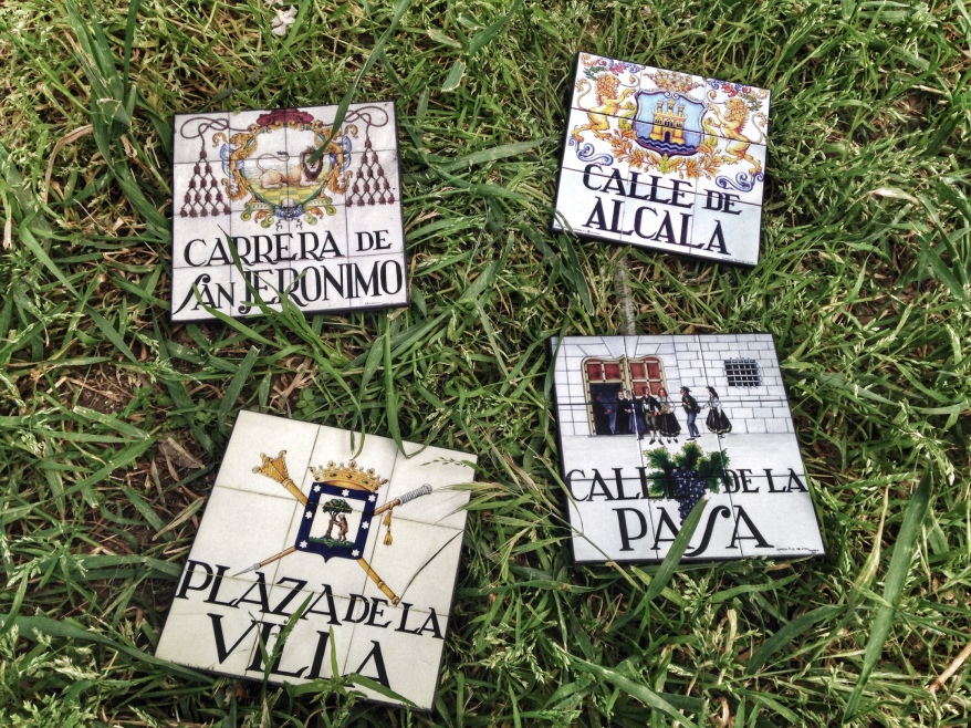 Signs of Madrid on the grass