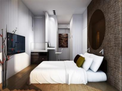 A bedroom at the Ovolo Central Hotel in Hong Kong