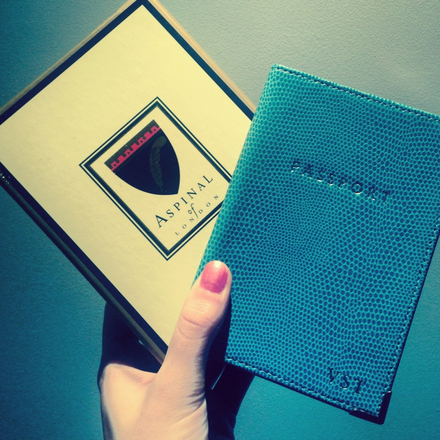Aspinal leather lizard turquoise passport cover