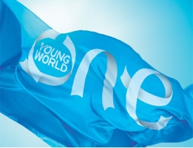 One Young World blue flag OYW