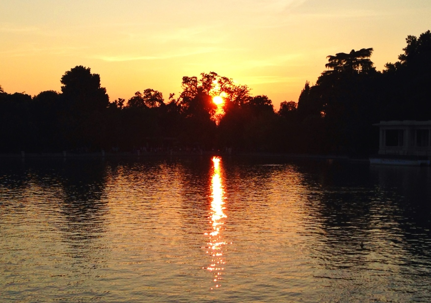 Madrid sunset in Retiro Park