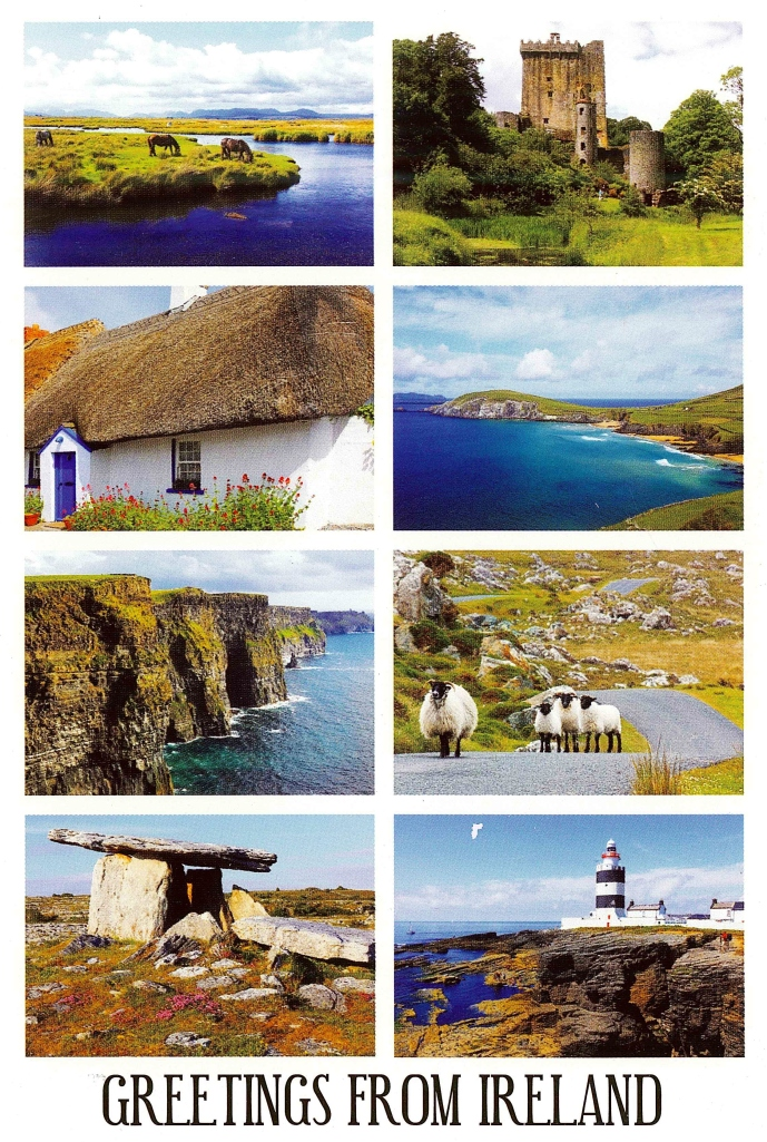 Greetings from Ireland postcard of the countryside