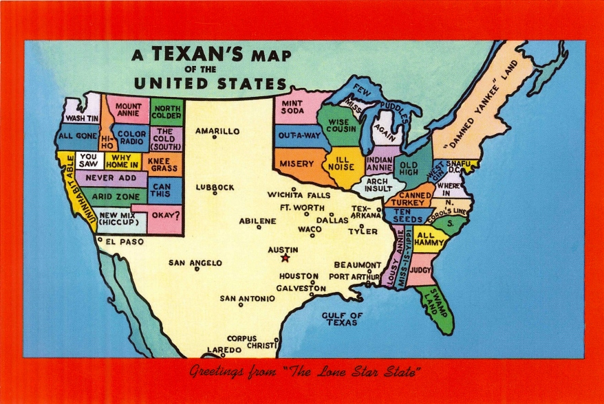 Postcard of Texas Map