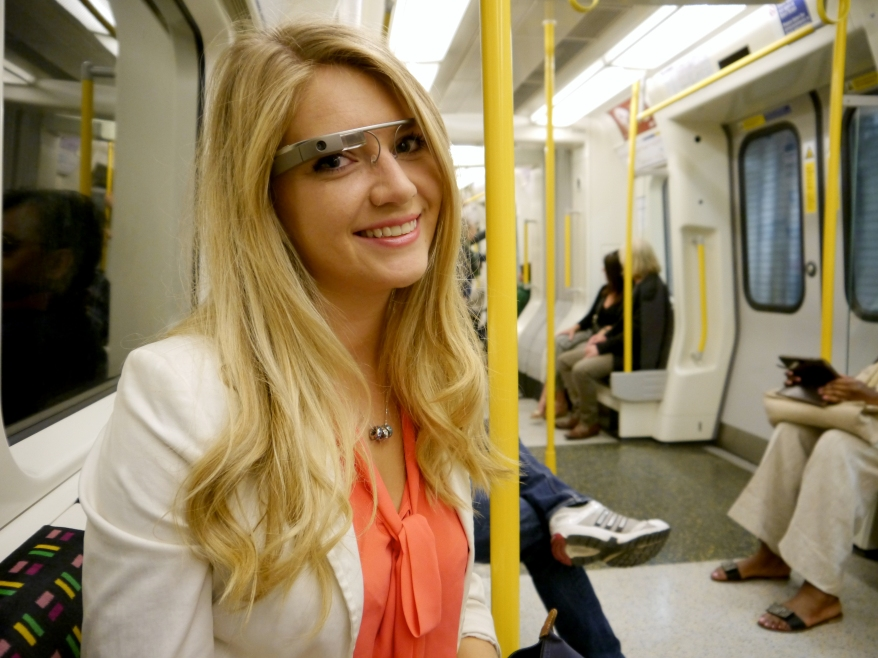 Girl wearing Google Glass in London