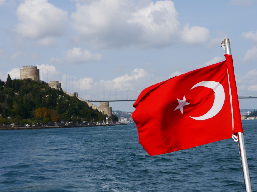 Turkish flag on the Bosphorus