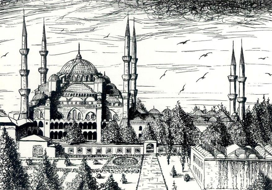 Blue Mosque Istanbul postcard illustration