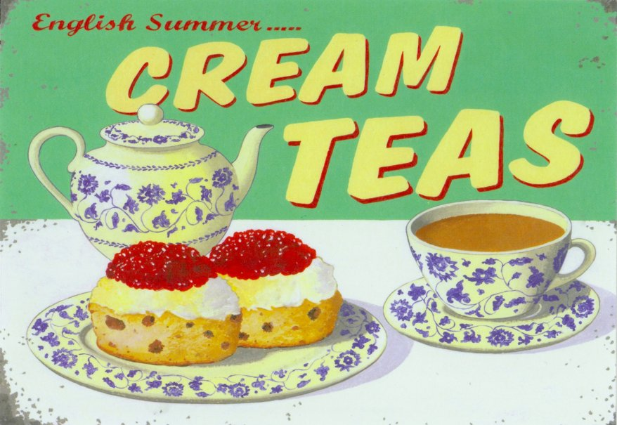 English Cream Tea postcard vintage advert