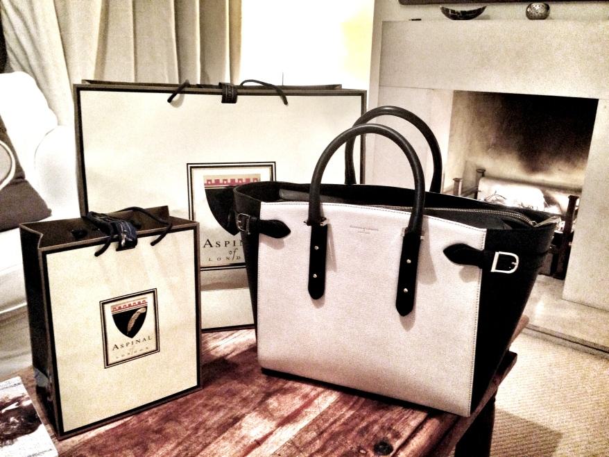 Aspinal of London Marylebone Tote portable charger handbag
