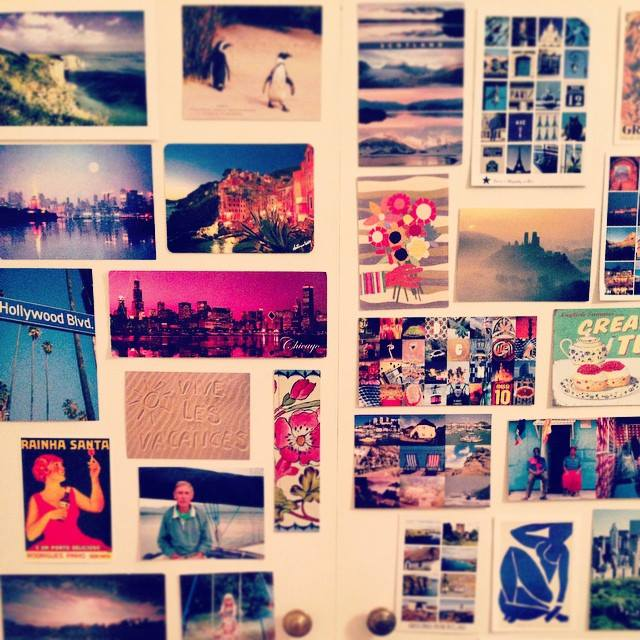 postcards on my wardrobe