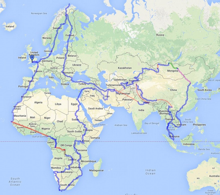 Charlie Walker cycle route around the world