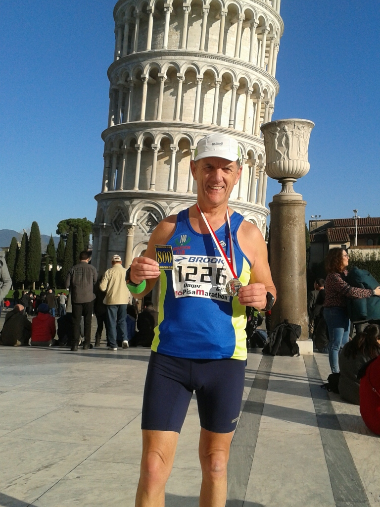 Roger Biggs 800th marathon in Pisa December 2014