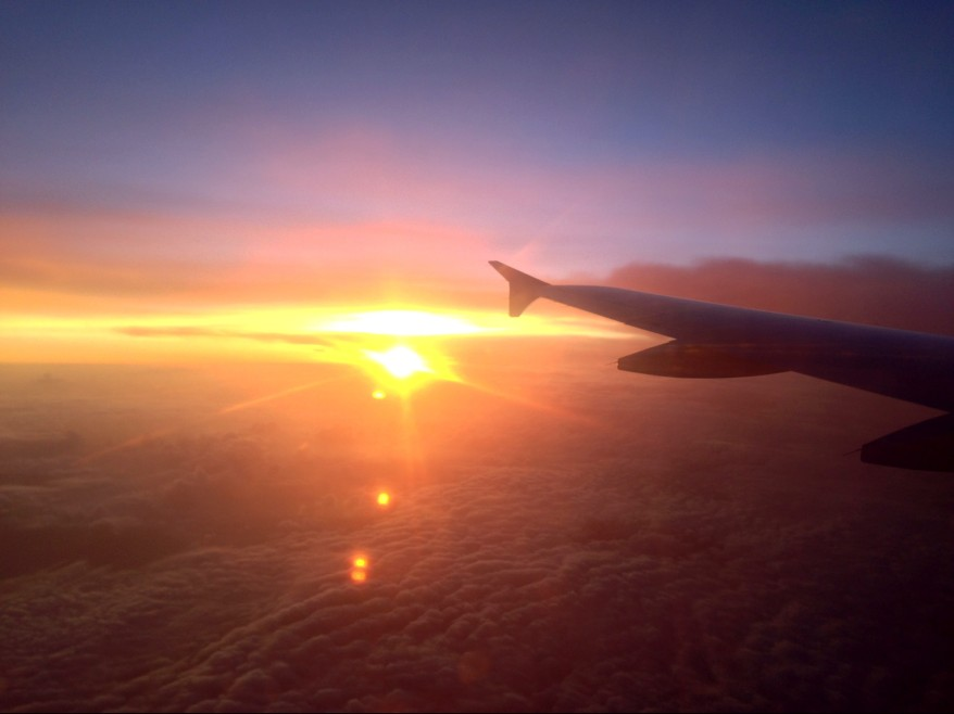 Qatar Airways flight sunset