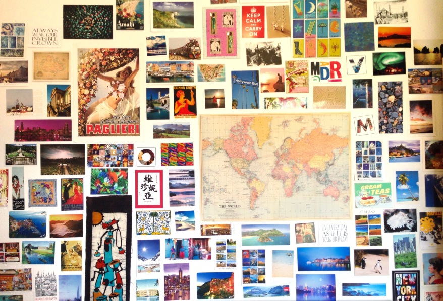 postcards on wall