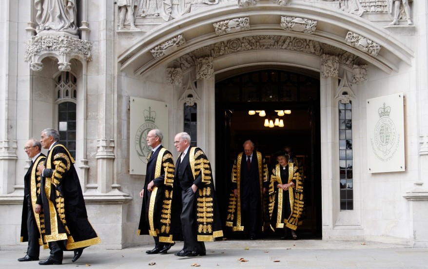 Justices of the Supreme Court leaving the new Supreme Court of the United Kingdom in London