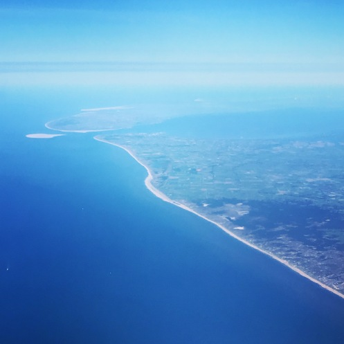 View from the plane of the Dutch coast