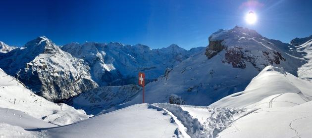 Skiing in Murren, Switzerland