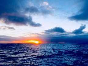 2018 Jan Setting sun over bow
