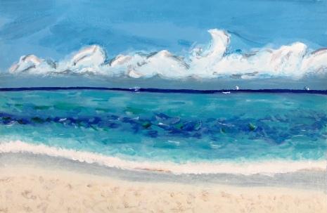 Mondello Beach Sicily painting